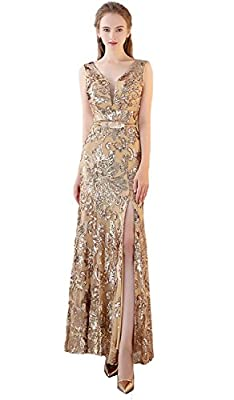 FANHAO Women's V Neck Sequins Bridal Evening party Long prom dress