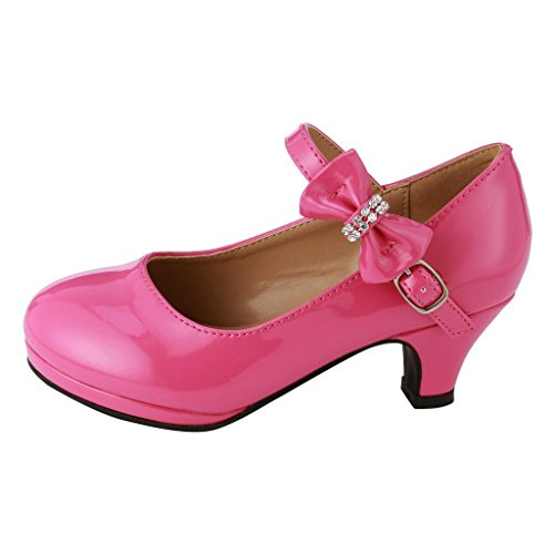 - Forever Dana Little Girl Kids Mid Heel Mary Jane Sandal PU Leather Dress Pumps Dancing Shoes Fuchsia 10 Toddler