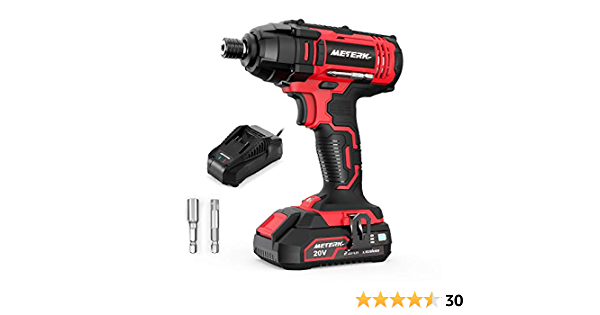 """Meterk Impact Driver, 1600In-lbs 20V MAX Impact Drill, 2000mAh Battery, 60-Min Fast Charger 2.4A, 1/4"""" All-metal Hex Chuck, 0-2800RPM Variable Speed"""