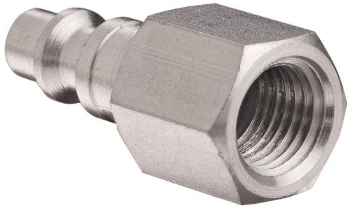 "Dixon DCP20S Stainless Steel 303 Air Chief Industrial Interchange Quick-Connect Hose Fitting, Plug, 1/4"" Coupling x 1/4"" NPT Female"