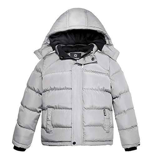 Wantdo Boys Windproof Puffer Jacket Winter Coat with Removable Hood Gray 8