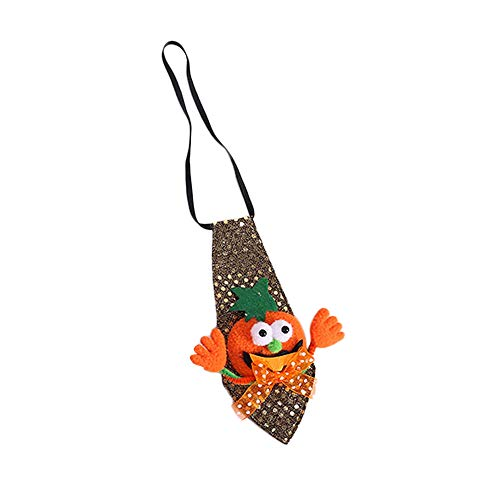 (Sayolala Halloween Party Props Pumpkin Tie LED Flashing Brooch Pins Lighted Brooch Kids Party Supplies)
