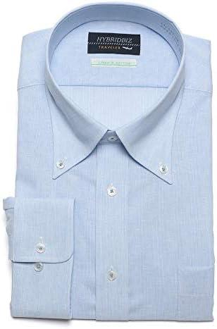 サカゼン HYBRIDBIZ 大きいサイズ メンズ 超形態安定 綿麻 ボタンダウン 長袖 ワイシャツ RELAX BODY