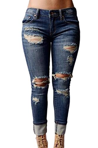 yulinge Las Mujeres Jeans Rasgado Destoryed Denim Pantalones Largos con Bolsillo Azul