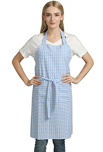 Vintage Gingham Kitchen Aprons Chef Bib Canvas Aprons Christmas Holiday Home Decorative 100% Pure Cotton Aprons in Large Size with Pockets Adjustable Neck Strap Long Ties Aprons(Blue)