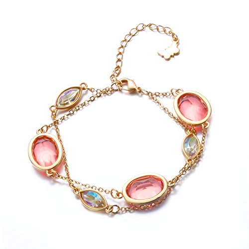 - GEORGE · SMITH Melody of Provence Rose Gold Plated 2-Strand Rope Chain Bracelet with Swarovski Crystals Gift,Romantic Spring Love Melody