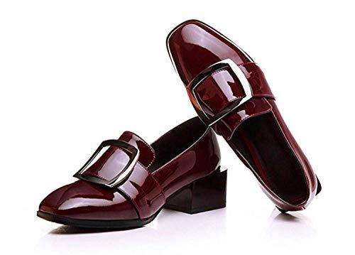 Mujer Vino Para De Diseño Rojo Flor Zapatos Vino Decorativo Cuadrada Casual 36 Metal Grueso Tacón Sintética Moontang Cabeza Piel Estilo STqCw