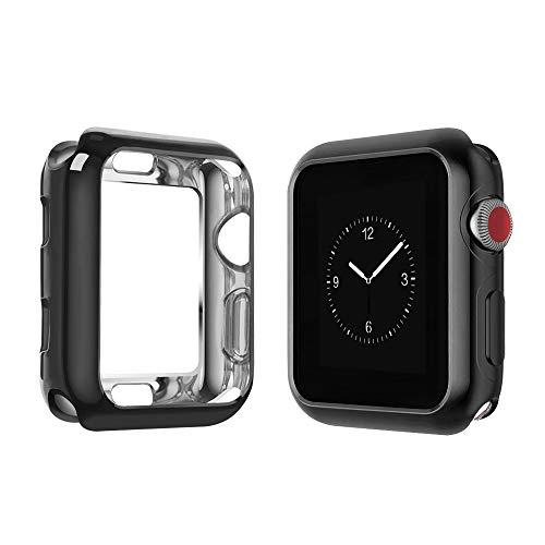 top4cus Environmental Soft Flexible TPU Anti-Scratch Lightweight Protective 42mm Iwatch Case Compatible Apple Watch Series 4 Series 3 Series 2 Series 1 - Black