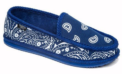 [Troooper America KS-002 Bandanna Paisley Slip-On House Shoe Slippers (13, ROYAL BLUE / WHITE)] (Gangster Shoes)