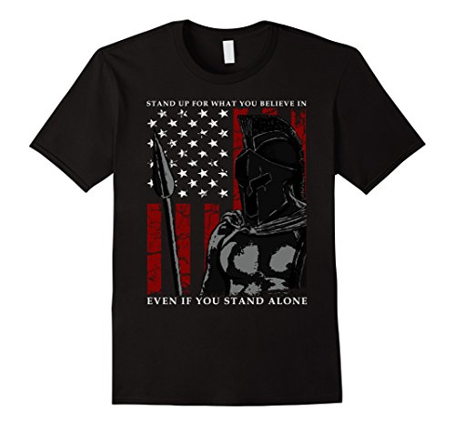 Mens The Spartan Warrior American Flag Men & Women T Shirt 2XL Black