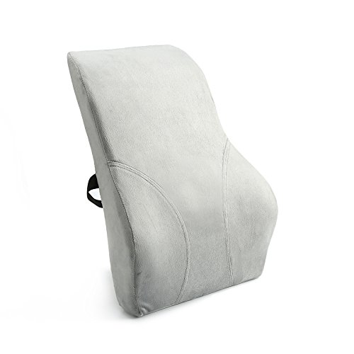 Kingta Memory Foam Back Cushion-Lumbar Lower Back Pain Lumbar Pillow-Design for Lower Back Pain and Tightness Relief,Best for Office,Home and Car(Gray) - Dining Chair Pillows