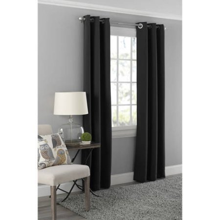 Price comparison product image Mainstays Blackout Energy Efficient Grommet Curtain Panel- 40x95 / Black