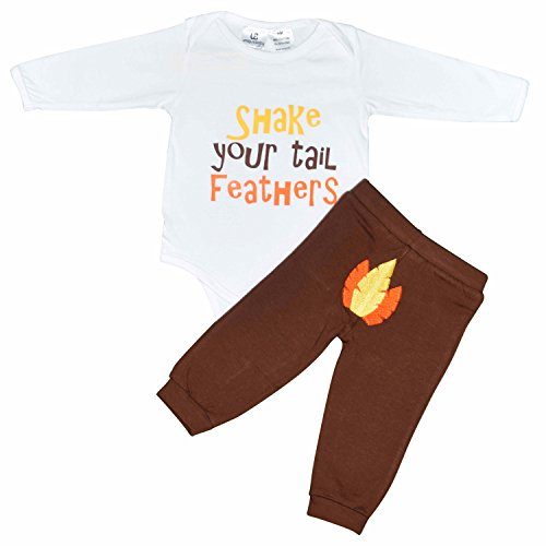 Unique Baby Unisex Shake Your Tail Feather Thanksgiving Layette Set (18 (Egyptian Outfits For Boys)