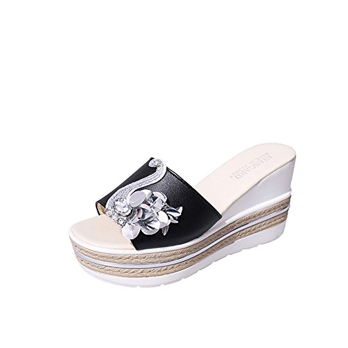 Sandals Black Summer pit4tk Beach Flops Beach Strap Thong Shoes Wedge Womens Flip Platform 6qCqfwa