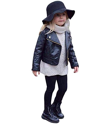 Noubeau Toddler Boys Girls Motorcycle Faux Leather Jackets Coat Winter Outwear for 1-5Y (Black, 5T)
