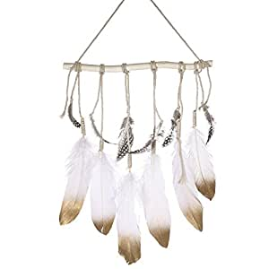 Ling's moment Bohemian Feather Wall Hanging Decorations, Gold Dipped Glitter Feathers Hanging Ornaments, Boho Bedroom Decor Wedding Gift Baby/Birdal Shower Decor