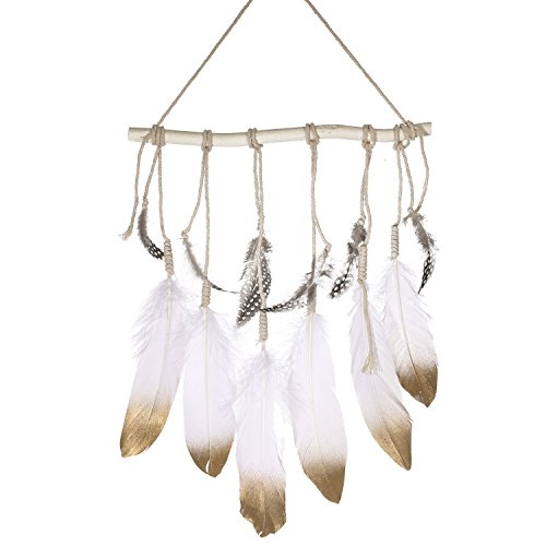 Ling's moment Bohemian Feather Wall Hanging Decorations Gold Dipped Glitter Feathers Hanging Ornaments Boho Bedroom Decor Wedding Gift Baby/Birdal Shower Decor