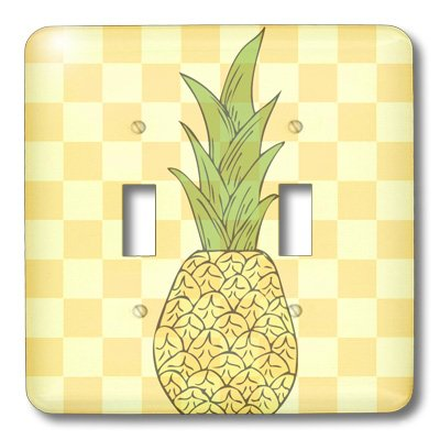 3dRose lsp/_57288/_2 Tropical Pineapple Fruits Yellow Checkered Art Double Toggle Switch