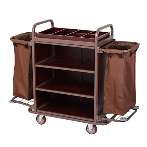 Janitor-Housekeeping Carts DIOE Cleaning Dolly Service Truck Trolley Vinyl-Bags Swivel Flexible 5 inch PVC Wheels Thicken Stainless Steel, Hotel Trolley, Service Truck, Shelf