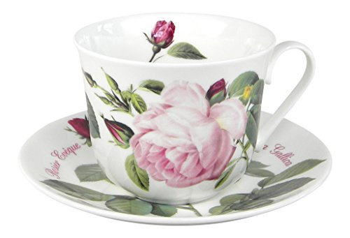 Fine China Bone England (Roy Kirkham Versailles Roses Breakfast Tea Cup and Saucer Set Fine Bone China)
