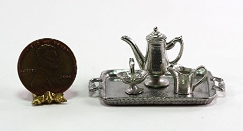 Pewter Server (Phoenix Models Dollhouse Miniature Polished Pewter Coffee Server Set)