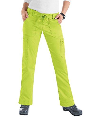 Koi Women's Skinny Stretch Petite Lindsey Mid-Rise Drawstring Waist Cargo Scrub Pant - Large Petite - Key Lime (Key Womens Shoes Lime)