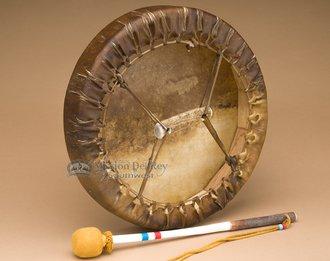 Premium Navajo Buffalo Drum & Beater 14'' -Tohlakai
