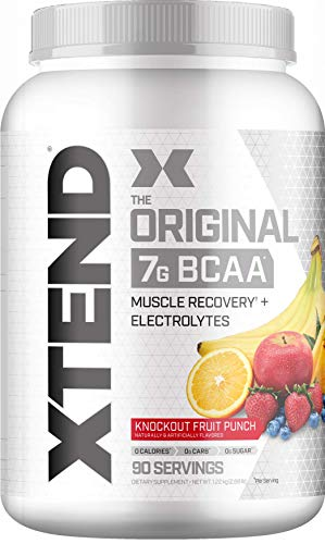 XTEND Original BCAA Powder Knockout Fruit Punch | Sugar Free Post Workout Muscle Recovery Drink with Amino Acids | 7g BCAAs for Men & Women| 90 Servings