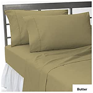 "THREE {3} PCS FITTED SHEET OLYMPIC QUEEN SIZE WITH 29"" DEEP POCKET IN NEW BUTTER COLOR 100% EGYPTIAN COTTON { 500 THREAD COUNT / SOLID PATTERN }"