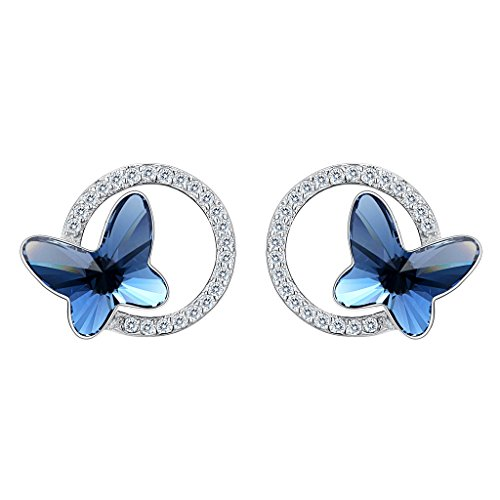 Sterling Silver Butterfly Pin - EleQueen 925 Sterling Silver CZ Butterfly Circle Stud Earrings Denim Blue Made with Swarovski Crystals