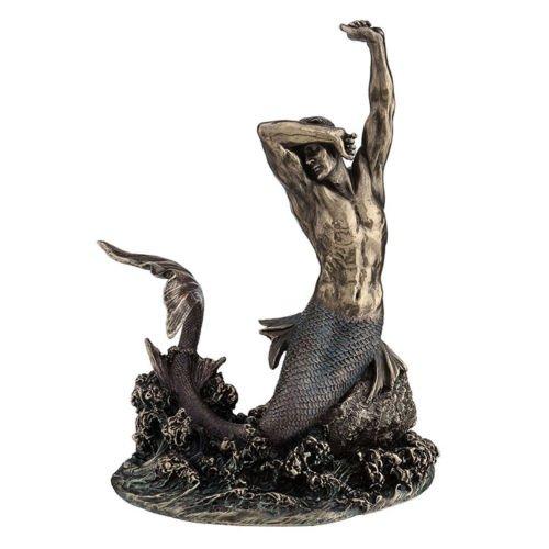 7.5 Merman Stretching on Rock Statue Male Mermaid Figure Sculpture Home Decor