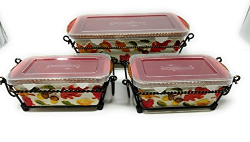 Temp-tations Set of 3 Loaf Pans w/ Plastic Covers & Wire Racks, Stoneware (Harvest) by Temptations (Image #1)