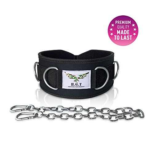 Premium Weightlifting Belt with 7 Build-in Rings, Detachable Chain and Adjustment Strap- Weight Lifting, Dip Belt and Mobility Belt in One (Medium)