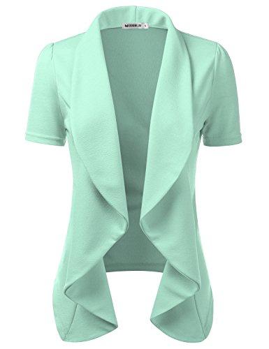 Cardigan Ruffle Short Sleeve (CLOVERY Women's Short Sleeve Ruffle Design Cropped Bolero Shrug Open Front Cardigan Mint 3XL Plus Size)