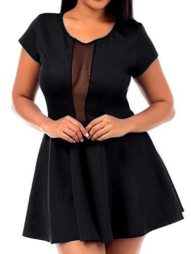 Red Dot Boutique 810 - Peek a Boo Mesh Panel Short Club Cocktail Dress/Top (2X, ()