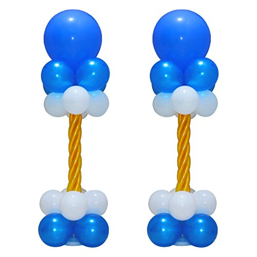 Huge Balloon Column Stand Kit - Bases and Poles Latex Balloons For Birthday Party Wedding Supplies 2 Sets 4Ft Height Blue White Gold