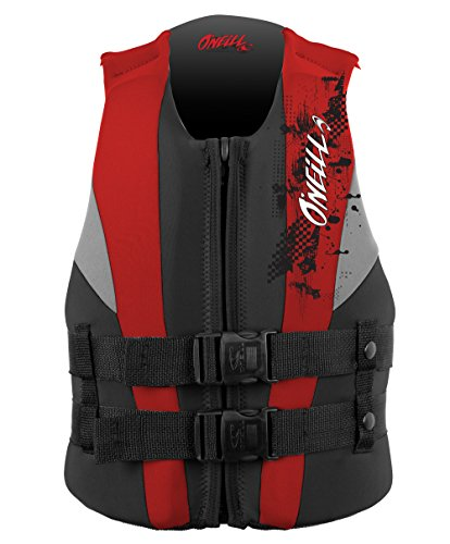 O'Neill Youth Reactor USCG Life Vest, Coal/Red/Flint, 50-90
