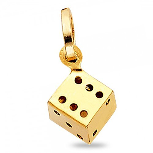 Dice Pendant Solid 14k Yellow Gold Cube Good Luck Charm Polished Small Genuine 11 x 10 mm