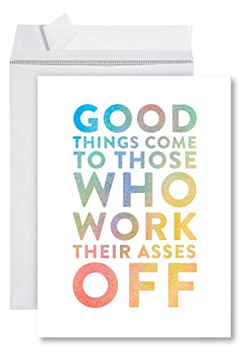 Funny Jumbo Graduation Card With Envelope 8.5 x 11 inch, Big Greeting Card, Work Their Asses Off ()