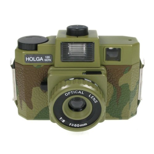 Holga 120GCFN Camouflage with Glass Lens and Colored Flash Film Camera