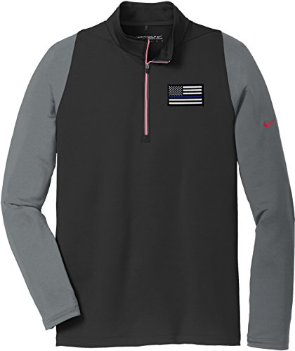 Nike Spandex Cover Up - Nike American Flag Blue Line Cover Up Dri-Fit Stretch 1/2 Zip 779795 (X-Large, Black/Grey)