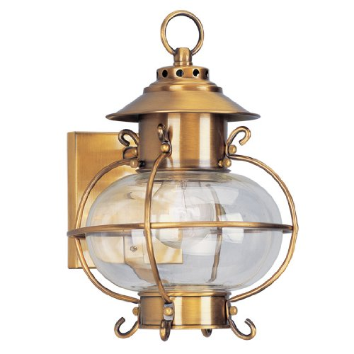 Livex Lighting 2221-22 Outdoor Wall Lantern with Hand Blown Clear Glass Shades, Flemish Brass (Lantern Harbor Outdoor)