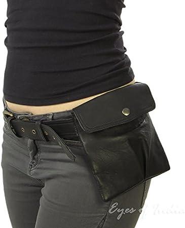 Eyes of India - Black Leather Belt Bum Waist Hip Bag Pouch Fanny Pack Purse Pocket Clutch: Amazon.es: Hogar