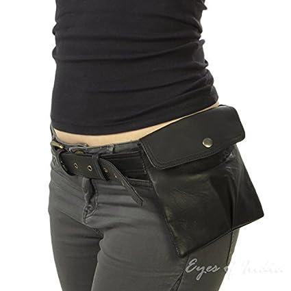 c4a0b2848 Amazon.com  Eyes of India - Black Leather Belt Bum Waist Hip Bag Pouch  Fanny Pack Purse Pocket Clutch  Sports   Outdoors