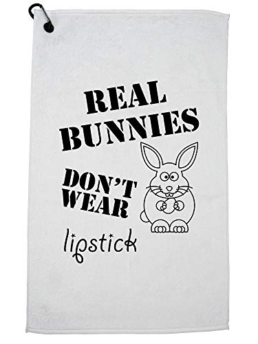 (Hollywood Thread Real Bunnies Don't Wear Lipstick Vegetarian Golf Towel with Carabiner Clip )