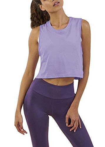 Bestisun Gym Fitness Summer Cool Tank Top Dance Boxing Tennis Running Shirts Sports Crop Yoga Tanks Workout Clothes Yoga Outfits Burnout Casual Tanks Purple L