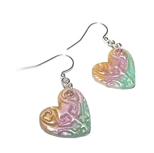 HANDMADE Stamped Rainbow Heart Lightweight Earrings