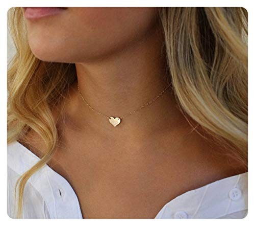 S.J JEWELRY Fremttly Womens Simple Delicate Handmade 14K Gold Filled/Rose Gold/Silver Simple Delicate Heart and Bar Chokers Necklace for Mothers Day-CK6-S Heart