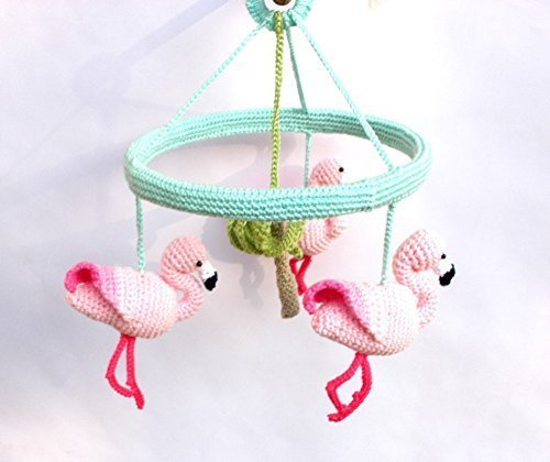 Pink Flamingo Baby Mobile, Baby Girl Nursery Mobile with Crochet Flamingos by Crochet on a tree