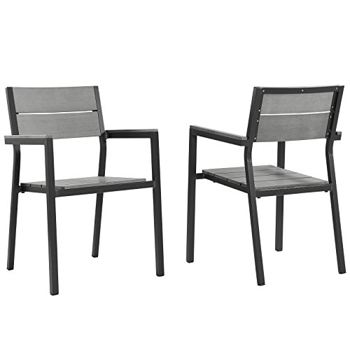 Modway EEI-1739-BRN-GRY-SET Maine Dining Armchair Outdoor Patio (Set of 2), Two, Brown Gray